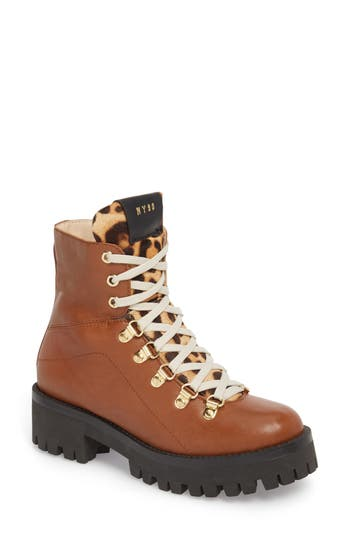 Steve Madden Boom Hiker Boot With Genuine Calf Hair, Brown
