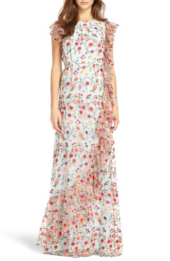 Ml Monique Lhuillier Floral Embroidered Mesh Gown, Pink