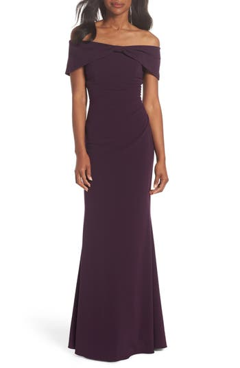 Eliza J Knot Front Off The Shoulder Gown, Purple