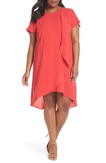 Plus Size Adrianna Papell Crepe Ruffle Drape Shift Dress, Pink