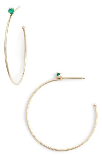 Zoe Chicco Emerald Prong Hoop Earrings