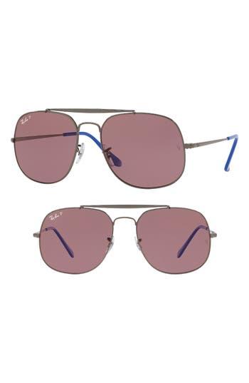 Ray-Ban 57Mm Polarized Aviator Sunglasses - Red Havana