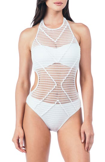 Kenneth Cole New York Wrapped In Love One-Piece Swimsuit, White