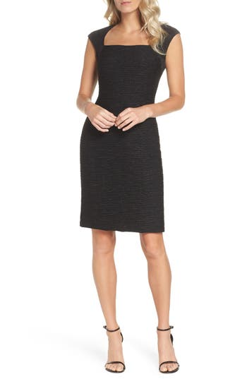 Eliza J Cap Sleeve Sheath Dress, Black