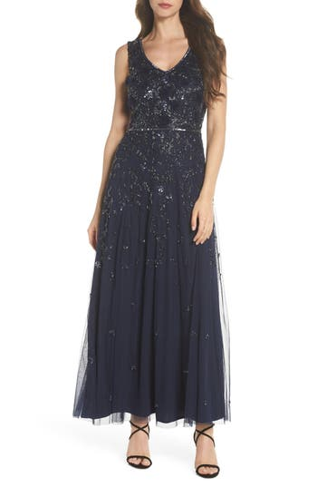 Pisarro Nights 3D Embellished Mesh A-Line Gown, Blue
