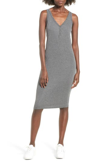 All In Favor Rib Knit Tank Dress, Grey