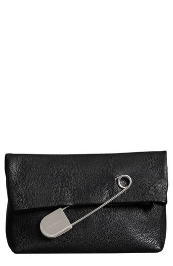 Burberry Medium Safety Pin Leather Clutch - Black