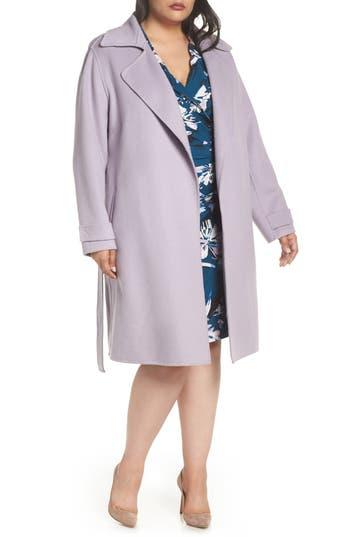 Plus Size Badgley Mischka Double Face Wool Blend Wrap Front Coat, Purple