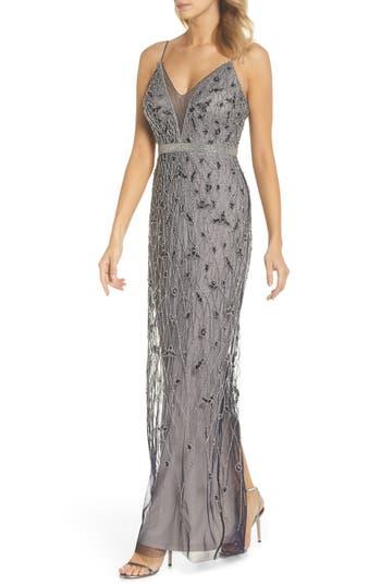 Adrianna Papell Beaded Column Gown, Metallic