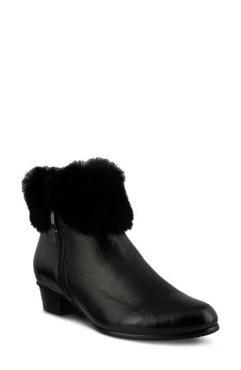 Spring Step Burnside Faux Fur Trim Bootie, Black