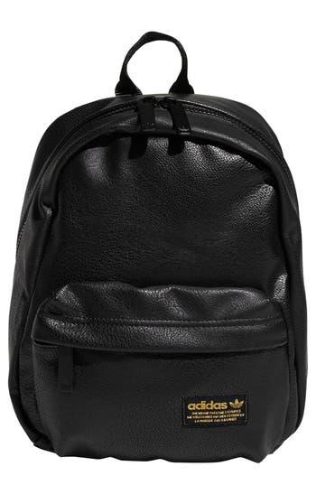 National Compact Backpack - Black, Black Pu Leather