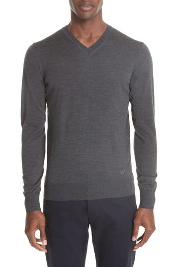 Emporio Armani V-Neck Wool Sweater, US / 4 R - Grey