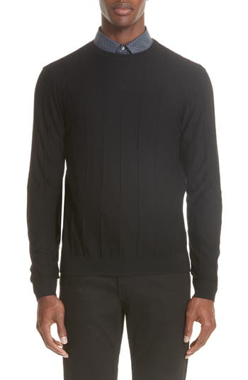 Emporio Armani Crewneck Wool Sweater, Black