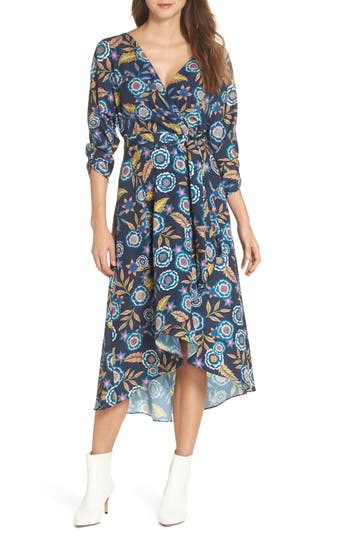 Eliza J Floral High/low Faux Wrap Dress, Blue