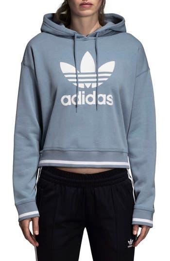 Adidas Active Icons Crop Hoodie, Grey