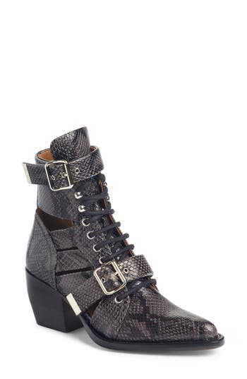 Chloe Rylee Caged Pointy Toe Boot, Black