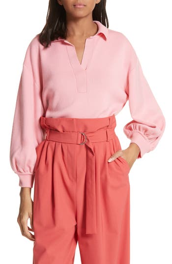 Tibi Merino Wool Bell Sleeve Sweater, Pink