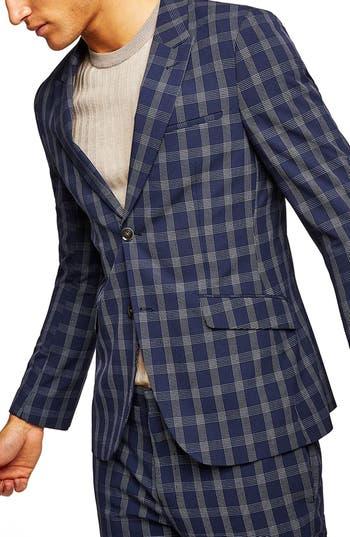 Topman Muscle Fit Check Suit Jacket Blue