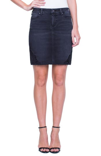 Liverpool Slit Hem Skirt, Black