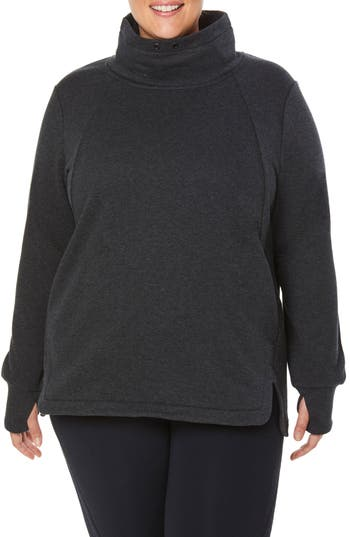 Plus Size Shape Activewear Saturday Mock Neck Pullover, Black