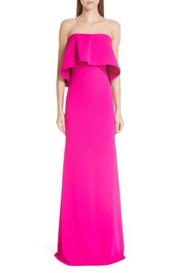 Badgley Mischka Platinum Strapless Popover Column Gown, Pink