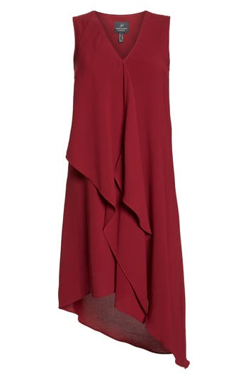 Adrianna Papell Ruffle Front Crepe High/low Dress, Red