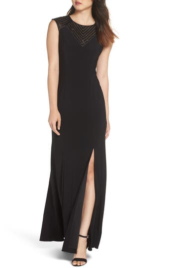 Adrianna Papell Beaded Jersey Gown, Black