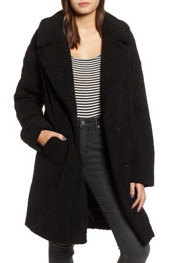 Faux Fur Teddy Coat in Black