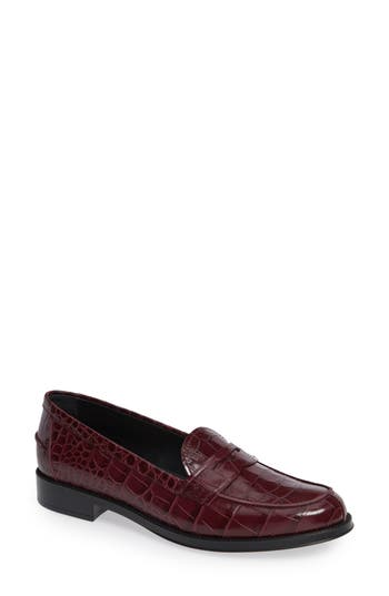 Classic Croc Embossed Penny Loafer, Burgundy