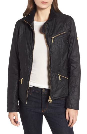 Barbour Backmarker Water Resistant Waxed Cotton Jacket, US / 8 UK - Black