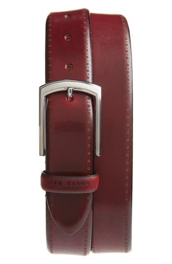 Ted Baker London Burnished Brogue Leather Belt, Red