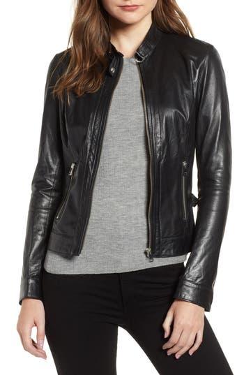 LAMARQUE Lambskin Leather Biker Jacket in Black
