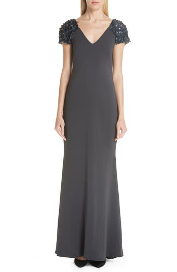 Badgley Mischka Platinum Beaded Cap Sleeve Gown, Grey