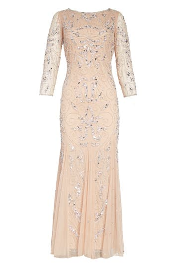1930s Evening Dresses | Old Hollywood Dress Pisarro Nights Embellished Mesh Gown Size 8P - Pink $218.00 AT vintagedancer.com