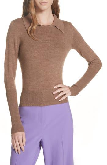 Dvf Merino Wool Blend Polo Sweater, Brown