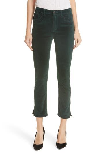 W3 Higher Ground Mini Split Ankle Velvet Jeans, Fern