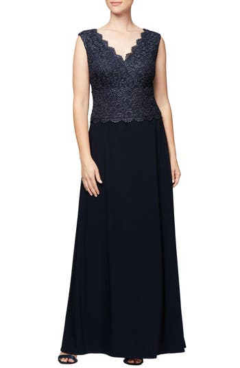 Edwardian Evening Gowns | Victorian Evening Dresses Petite Womens Alex Evenings Embroidered A-Line Gown Size 16P - Blue $229.00 AT vintagedancer.com