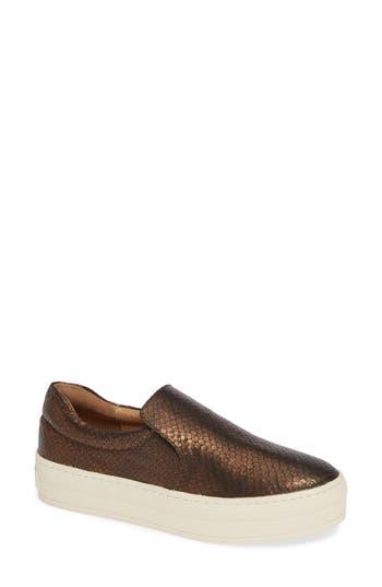 Harry Slip-On Sneaker, Bronze Embossed Leather