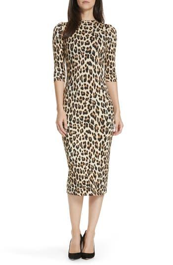 Delora Mock-Neck Fitted Leopard-Print Sheath Dress in Textured/Leopard