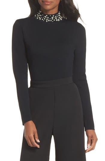 1950s Rockabilly & Pin Up Tops, Blouses, Shirts Womens Eliza J Faux Pearl Embellished Mock Neck Sweater $128.00 AT vintagedancer.com