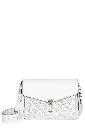 Burberry Small Macken Perforated Leather Crossbody Bag - White