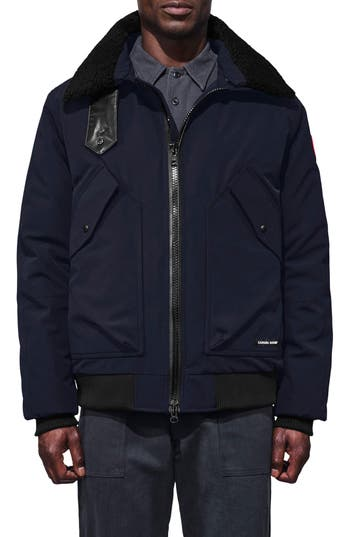 Canada Goose Bromley Down Bomber Jacket With Genuine Shearling Collar, Blue