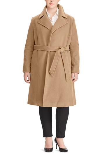 Plus Size Lauren Ralph Lauren Wool Blend Wrap Coat, Beige