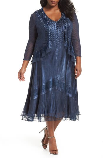 1930s Art Deco Plus Size Dresses | Tea Dresses, Party Dresses Plus Size Womens Komarov V-Neck Midi Dress With Jacket $458.00 AT vintagedancer.com