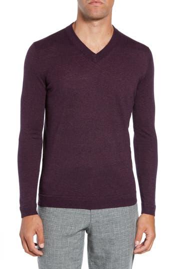 Ted Baker London Noel Slim Fit V-Neck Wool Blend Sweater, Purple