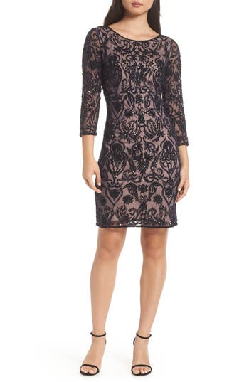 Pisarro Nights Embroidered Cocktail Dress, Blue