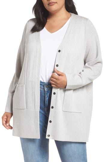 Plus Size Eileen Fisher Snap Merino Wool Cardigan, Black