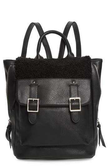 Violet Ray New York Faux Shearling Trim Buckle Backpack - Black