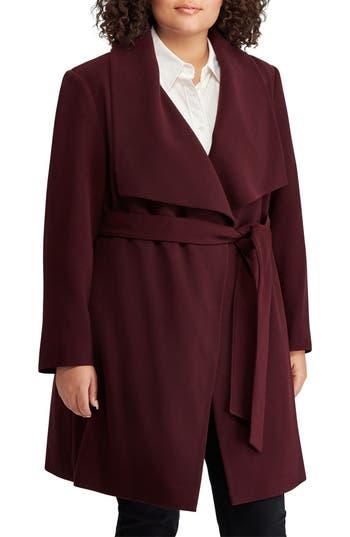 Plus Size Lauren Ralph Lauren Wrap Coat, Red
