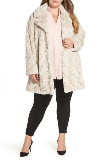 Plus Size Kenneth Cole New York Wubby Faux Fur Coat, Beige